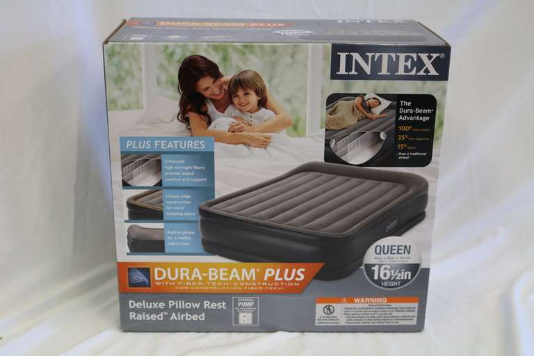 Intex Dura-Beam Plus Deluxe Pillow Rest Raised Airbed, Queen Size