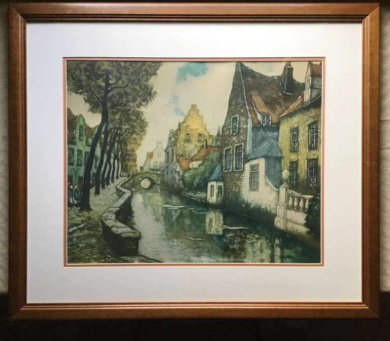 Framed and Matted Print of Houses by River
