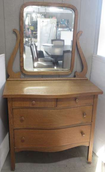 Antique Four-Drawer Oak Dresser with Mirror and Dovetails
