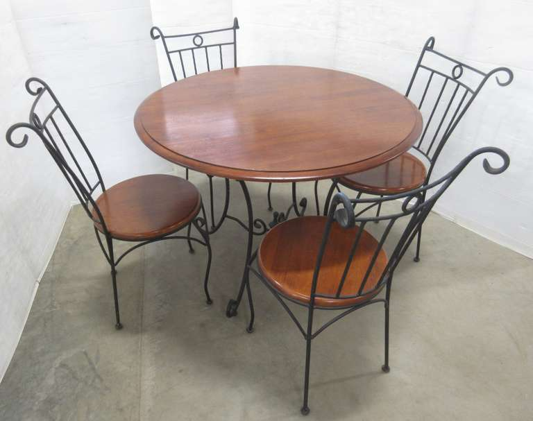 Wood Top Cast Iron Table and (4) Chairs
