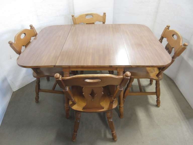 "St. Johns Wood Kitchen Dining Table with Formica Top, Sides Fold Down, with Leaves- 50 1/2"" x 36"", Leaves Down- 24 1/2"" x 36""; (4)Chairs, Marked Colonial Old Amber, 1965, 32""H"