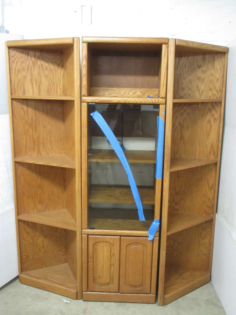 Heavy Solid Oak Cabinet Bookshelf with Four Shelves, Glass Door, Light, and Two Corner Shelves, Matches Lot Nos. 14 and 15