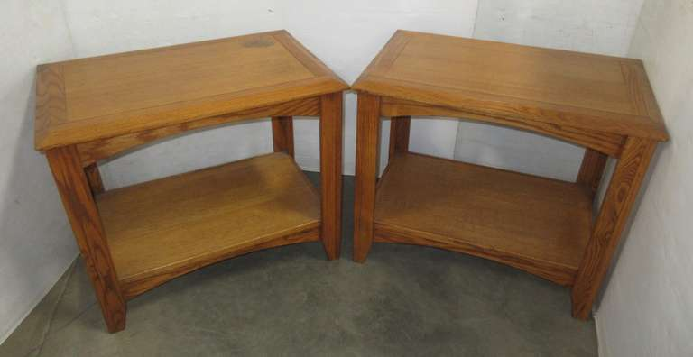 (2) Matching Light Oak End Tables