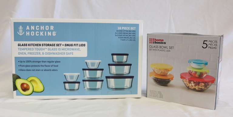 Two-Piece Set Of Glass Bowls With Lids, Anchor Hocking and Home Basics