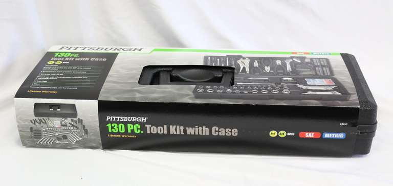 Pittsburgh 130-Piece Tool Kit With Case