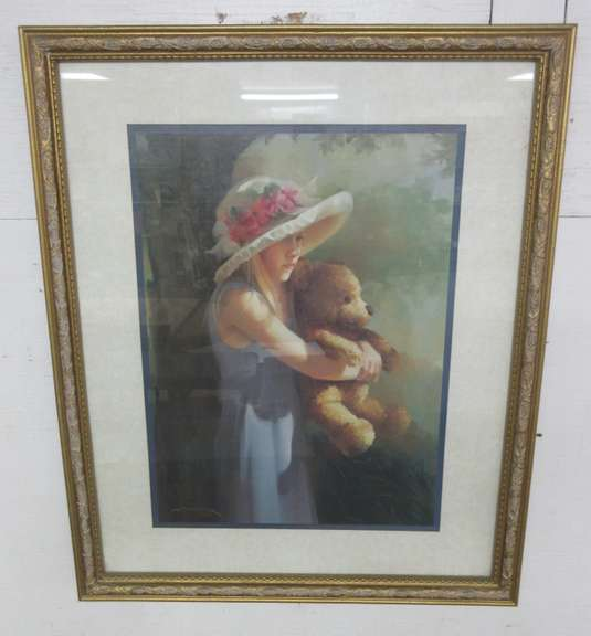 Framed Girl with Her Teddy Print