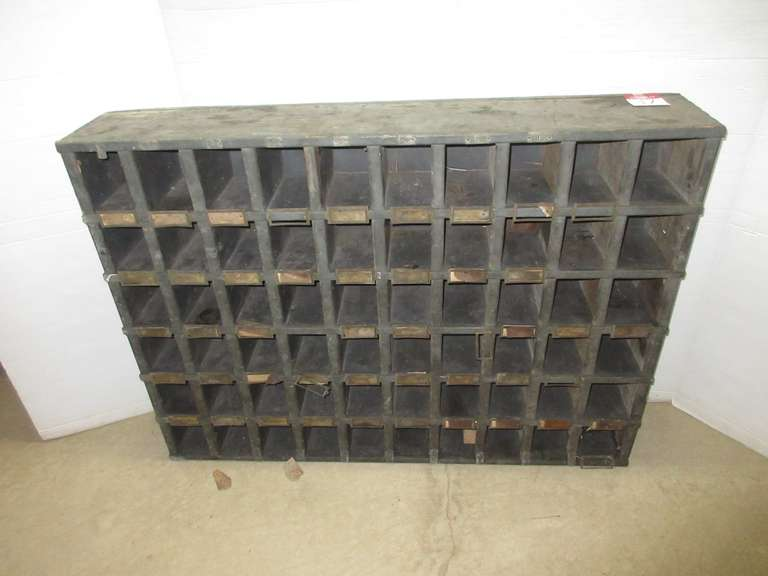 Antique Pigeon Hole Cabinet with 60 Holes, Has Original Brass Tags