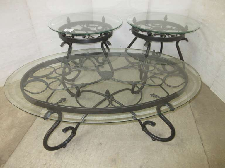 Oval Coffee Table and (2) End Tables, Glass Tops with Metal Bases, All Glass has Beveled Edges