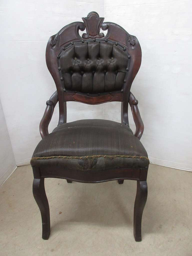 Antique Victorian 1800s Hand Carved Horsehair Upholstery Setee Chair