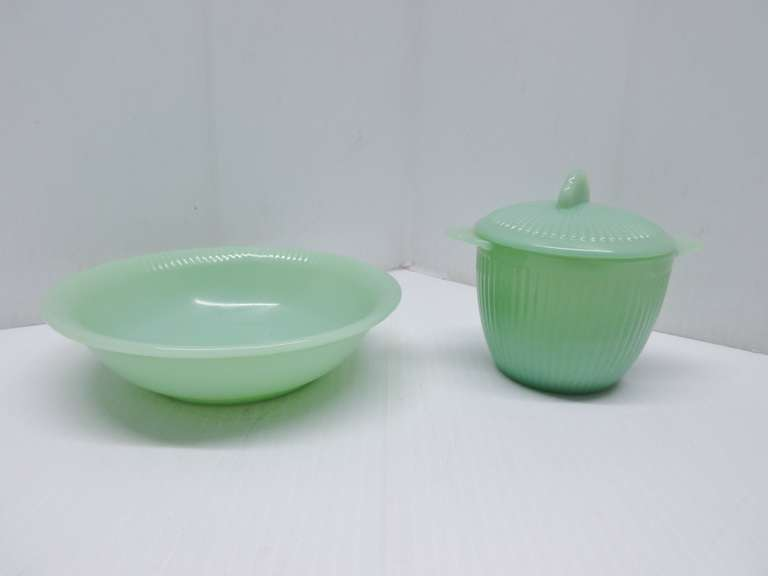 Fire King Jane Ray Jadeite Sugar Bowl with Lid, and a Berry Bowl
