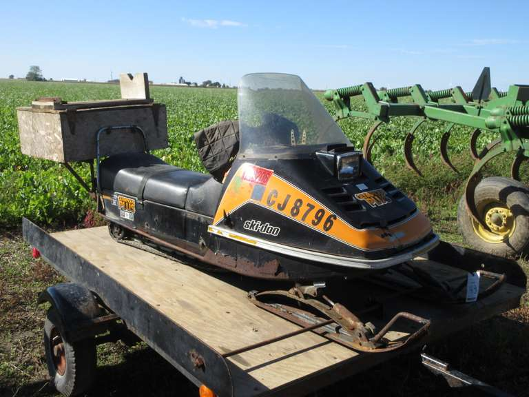 Ski-Doo Olympique Snowmobile, With Ice Fishing Box, Hasn't Been Run in a Number of Years, Motor Free, Serial # 3127-01182.  Note:  Trailer Pictured is Selling Separately as Lot #44.