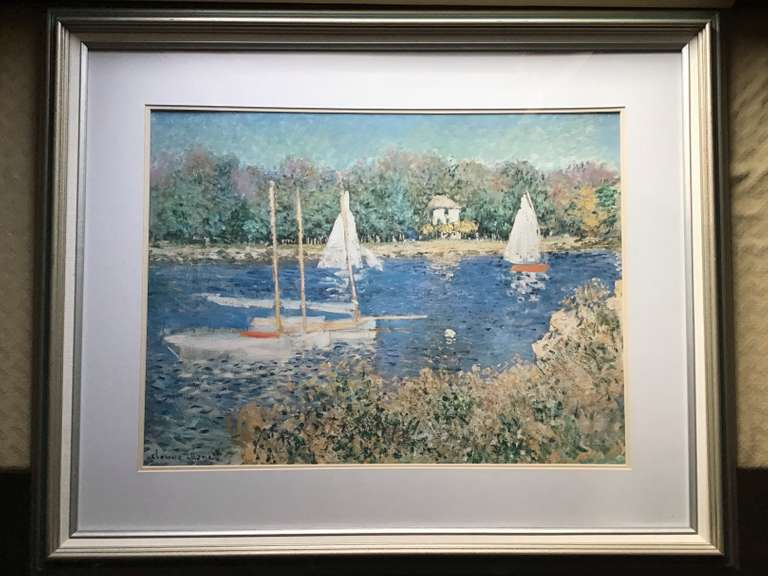 Framed and Matted Monet Print of Sailboats