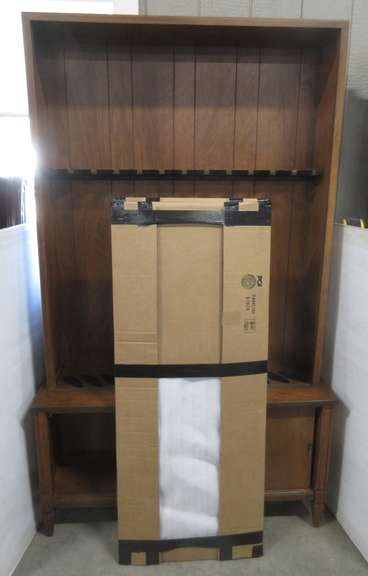 Wood Gun Cabinet with Sliding Glass Doors, Has Bottom Storage for Ammo, Holds 12 Guns