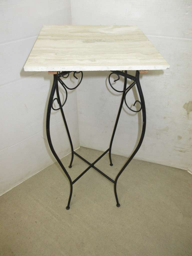 Plant Stand with Wrought Iron Bottom and Marble Like Top