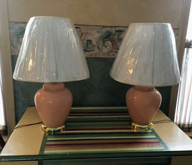 Pair of Peach Colored Lamps
