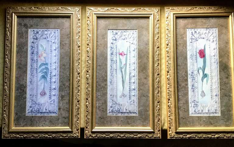 Framed and Matted Trio of Prints, 'Tin Iris, Tin Rose, Tin Lily'
