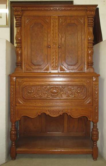 Antique Jacobean Style Solid Oak Butlers Cabinet with Two Doors and a Drawer, with Carvings and Bird's Eye Maple Inserts on Doors, Matches Lot No. 1