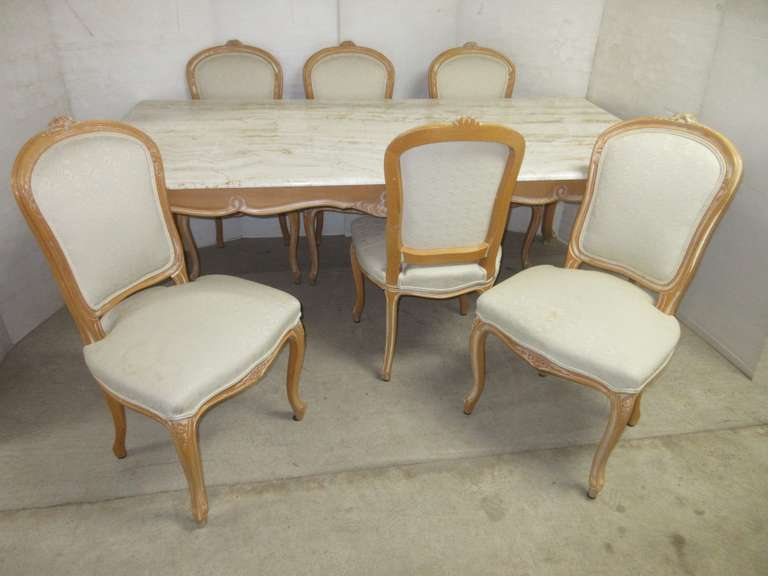 Genuine Marble Topped Dining Room Table with (6) Ornately Carved Padded Sitting Chairs, Matches Lot No. 32