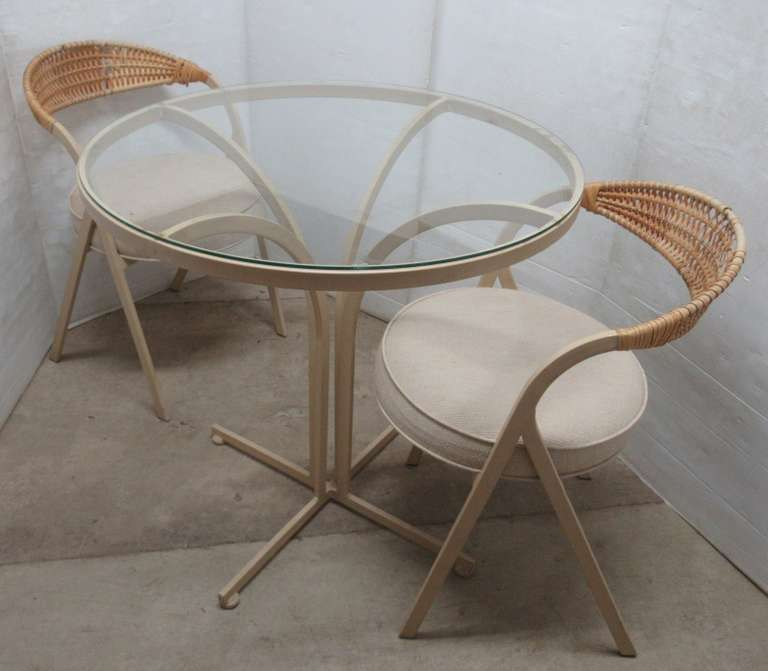 Metal Glass Top Table with (2) Padded Chairs, Table Base and Chairs are Metal