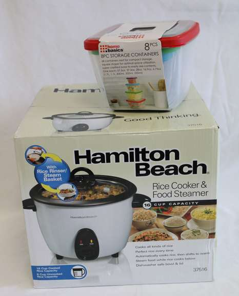 Hamilton Beach 16-Cup Rice Cooker With Eight-Piece Food Storage Set