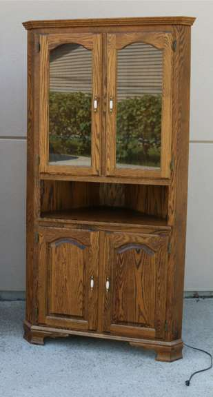 Lighted Oak Corner Hutch, Upper Unit Has Glass Doors, Lower Unit Has Wooden Doors