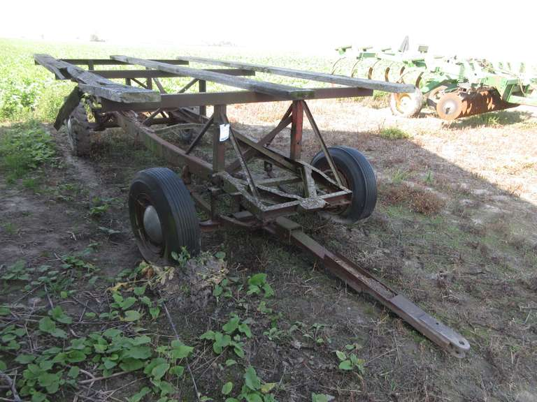 Old Homemade Wagon Gear with 14 1/2' Rack x 7' Wide, One Plank is Broken, Wheels May be Frozen Up