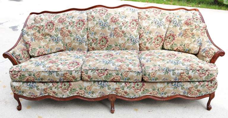 Floral  Multi-Color Couch With (2) Accent Pillows