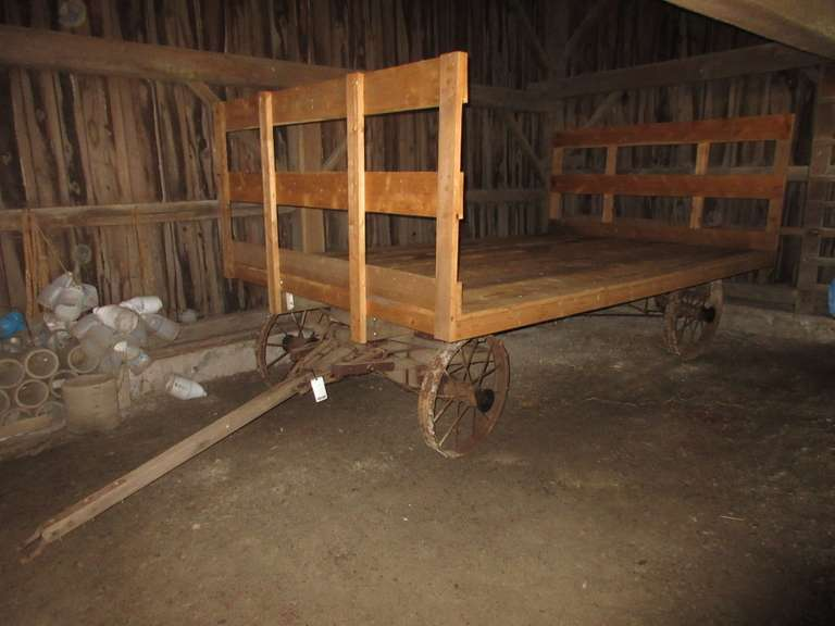 Antique Steel Spoke Wheel Wagon with 7 1/2' x 12' Wood Flatbed with 3 1/2' End Standards, Good Condition, Rack is Like New