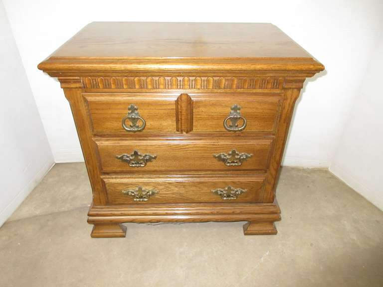 All Wood Oak Nightstand with Three Drawers