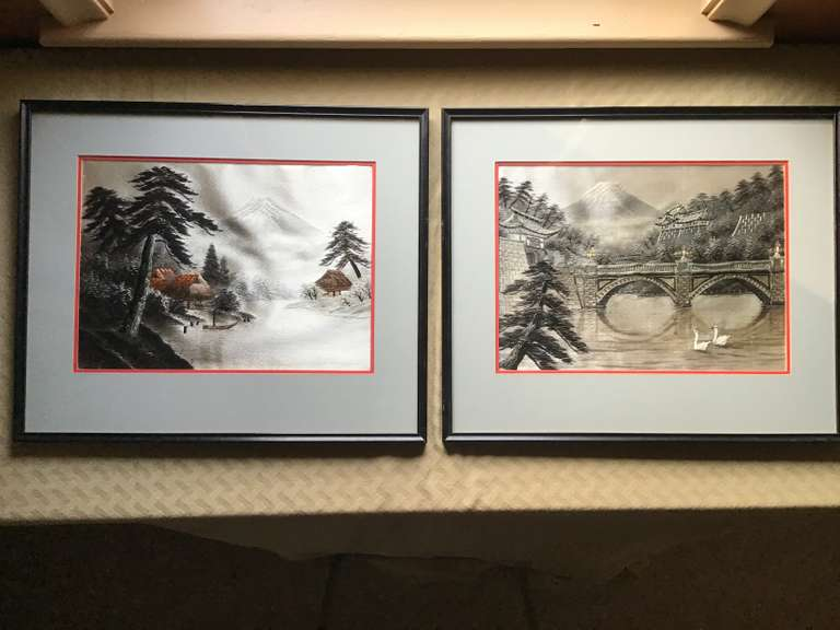 Pair of Framed and Matted Japanese Scarves