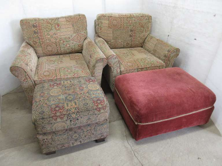 (2) Sitting Chairs with Ottomans, 1- Non-Matching