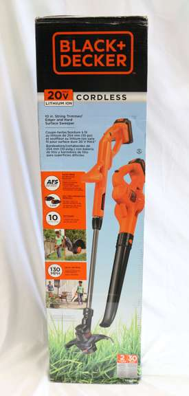 Black & Decker 20V MAX Lithium Trimmer/Edger + Sweeper with Two-Battery Combo Kit