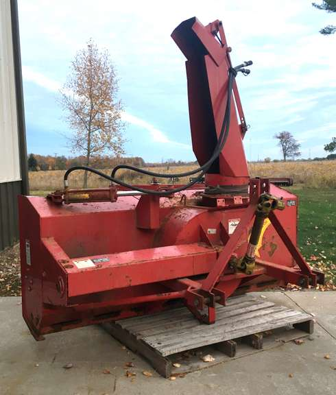 "Meteor 7' 3"" Two-Stage Snow Blower, 540 PTO, 3-Point Hitch Fits Category 1 or 2, Has 20"" Auger, Has 4-Blade 25"" x 10"" Blower with Hydraulic Chute Control, Some Surface Rust but Mechanically Sound"