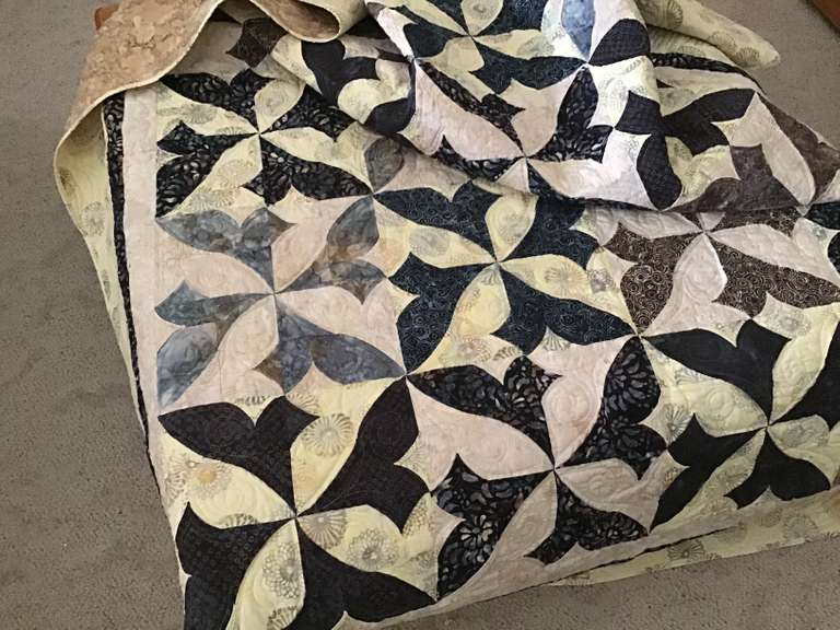 Handmade Quilt, Black, Gray, and Cream Colored