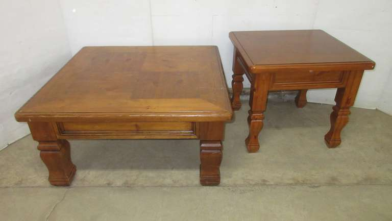 "Coffee Table, 38""W x 38""D x 19""H; Matching End Table, 26""W x 26""D x 23""H"