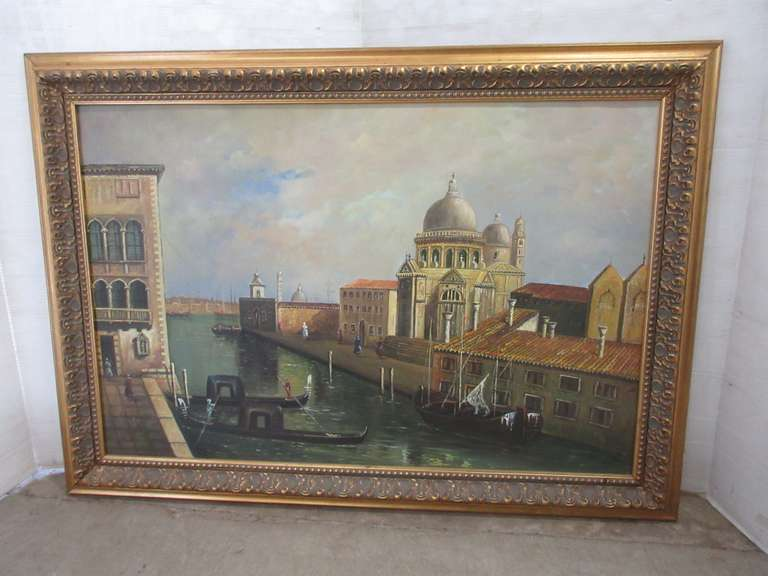 Large Framed Oil Painting on Canvas, Possibly Venice