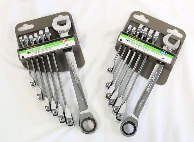 Pittsburgh Combination Ratcheting Wrench Set: Metric and SAE Sets