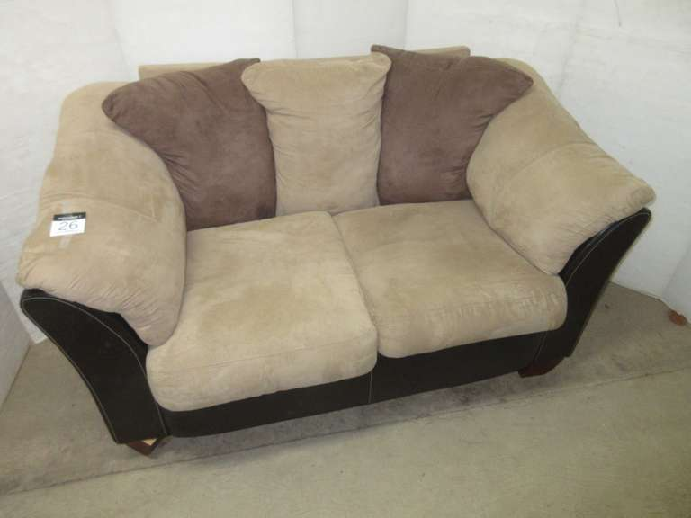 Suede and Leather Loveseat