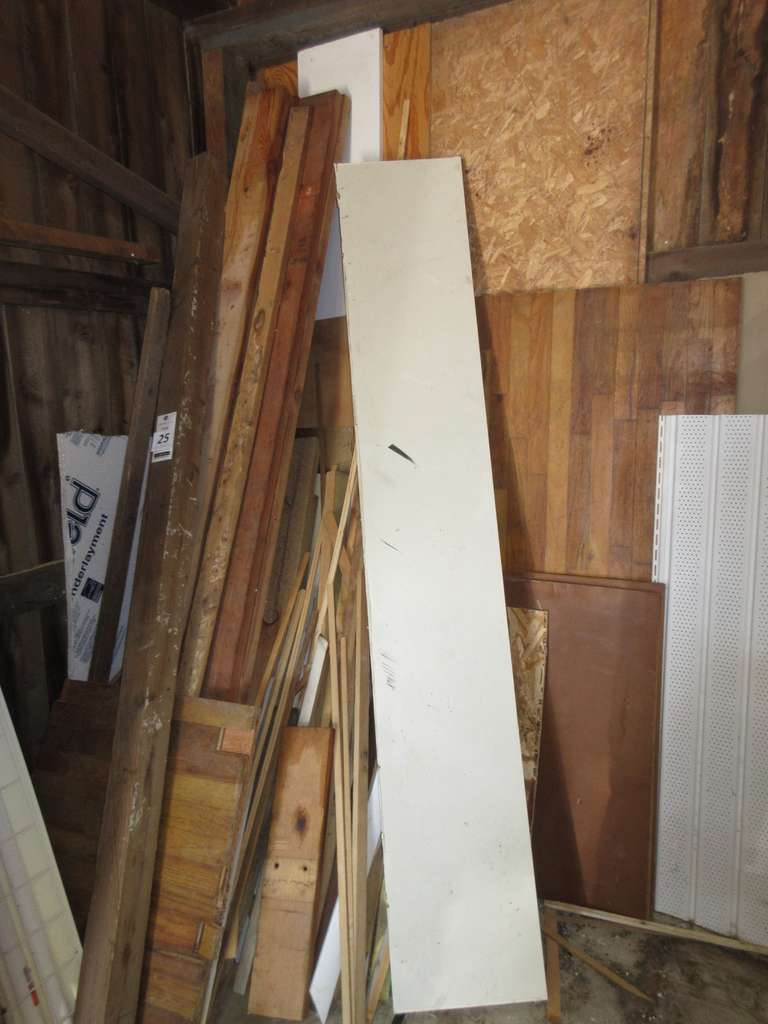 Assorted Wood Pile in the Northwest Corner and on West Wall Shelf, Longest is 13' to 14'