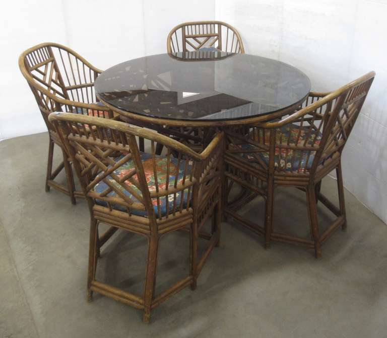 Glass Top Table with (4) Matching Chairs and Cushions