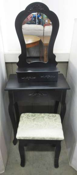 "(3) Pieces of Small Furniture, Include: Table with Drawer, 21 1/2""W x 11 3/4""D x 28 1/2""H; Small Mirror with Two Small Drawers, 15""W x 4 3/4""D x 24""H; Black Footstool, 14 1/2""W x 11""D x 17 1/2""H"