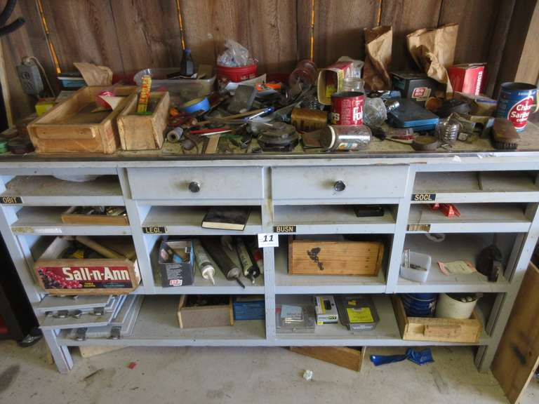 "Wood Work Bench with Assortment of Miscellaneous Tools and Hardware.  Bench is 6' Wide x 26"" Deep x 40 1/2"" High"