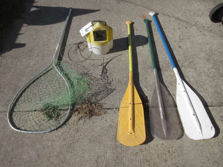 Assorted Fishing and Boating Items.  Includes:  Net, Paddles, Stringer and Minnow Trap Bucket