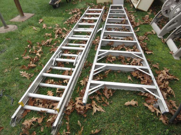 Werner 20' Aluminum Extension Ladder, 225 lb Capacity and 10' Aluminum Step Ladder