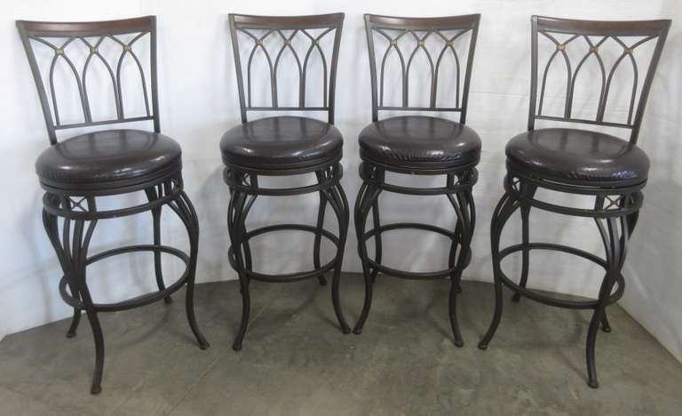 (4) Matching Swivel Chairs for High Top Dining Table, Metal Frames, Padded Imitation Leather Seats