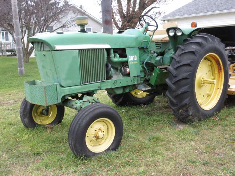 John Deere 3010 Diesel Tractor, Shows 5411 Hours, 3-Point, PTO, One Hydraulic Outlet, Serial No. 30005, 16.9-38 Rears, 7.50-16 Fronts.  The Tractor has started twice on starting fluid and a jump start, but will not stay running.  There is a short video clip of it starting.  Click on the thumbnail photo to view additional photos and watch the video.  The batteries may need to be replaced.