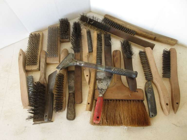 Assorted Wire Brushes in Vintage Crate