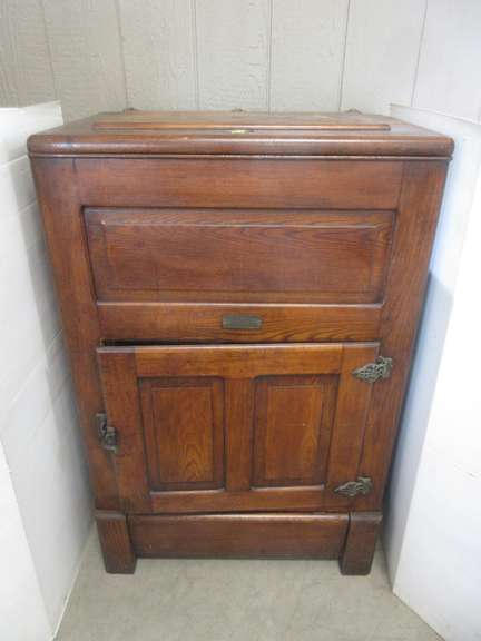 Heavy Antique Wood All Original Ice Box, Top Opens, Also Door with Rack, Front Bottom Flap Opens for Drainage