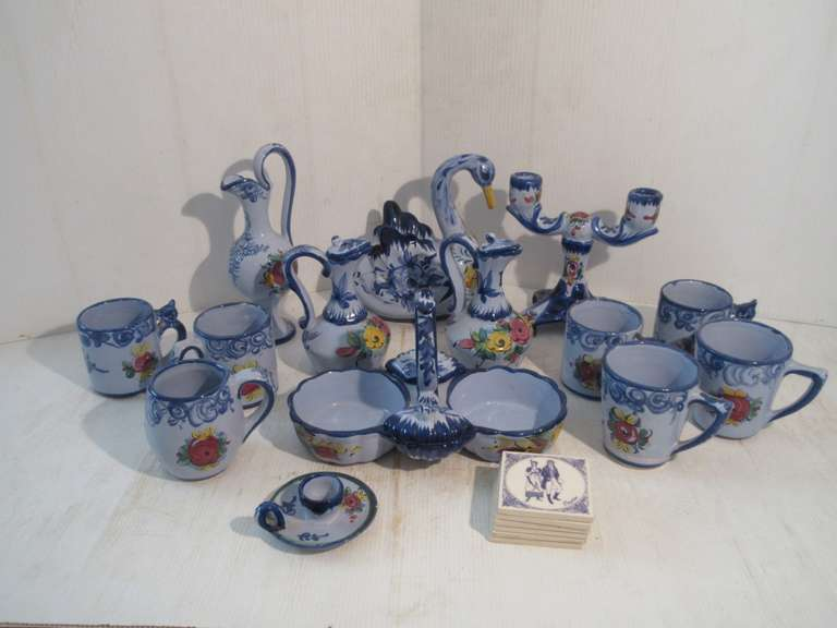 "Collection of 14 Pieces of Blue Portugal Pottery plus (6)-3"" Tiles"
