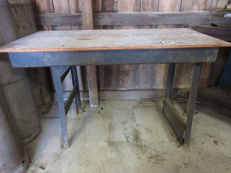 "Metal Base Work Table with Wood Top, 50"" Wide x 26"" x 32"" High"